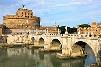 Castel Sant Angelo, with the bridge Pont Sant Angelo across the River Tiber in Parco Adriano district, Rome, Italy.