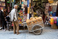Fes, Morocco. A Bread Vendor and his Cart in the Medina.