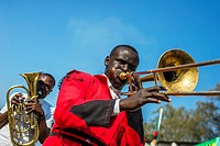Members of Zambian brass orchestra play music during Zambia International Trade Fair in Ndola.