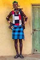 A Portrait Of A Young Hamer Tribesman At The Dimeka Saturday Market, Dimeka, Omo Valley, Ethiopia.