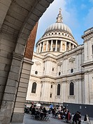 View of dome of St Paul's Cathedral from St Paul's Churchyard- London, UK.
