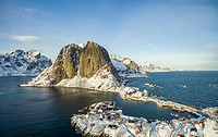 Hamnoy from above, Lofoten islands, Norway. Winter in a sunny day.