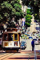 San Francisco, California, USA. Two cable cars in the streets of Frisco, one of the landmarks of the American city.