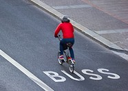 Motion blur of cyclist in bus lane, Stockholm, Sweden, Scandinavia.