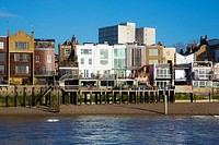 Houses on the river Thames in London.