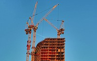 Cranes and unfinished buidling in the Elephant and castle area in London.