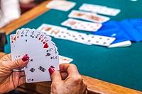 old people playing bridge game