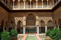 Patio de las Doncellas (Courtyard of the Maidens) an Italian Renaissance courtyard (1540-72) with Arabesque Mudéjar style plaster work, Alcazar of Sev...