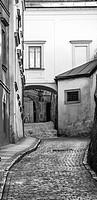 Old cobbled road in Prague, Czech Republic