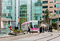 A tram in Birmingham, England, UK.
