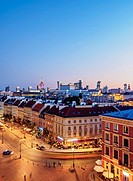 Poland, Masovian Voivodeship, Warsaw, Elevated view of the Krakowskie Przedmiescie Street at twilight.