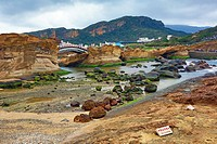 Rock formations at the Yehliu GeoPark, part of the Daliao Miaocene Formation in Wanli in Taiwan.