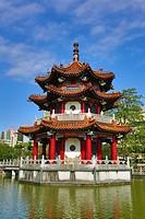 Pagoda in the 228 Peace Memorial Park in Taipei, Taiwan.