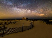 Jersey Shore Starry Skies and Milky Way - Island Beach State Park at the NJ Shore with beach fences leading to the Judge´s Shack underneath a starry s...