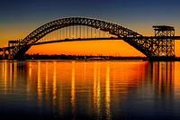 Bayonne Bridge Sunset - The Bayonne Bridge is the fifth-longest steel arch bridge in the world, and was the longest in the world at the time of its co...