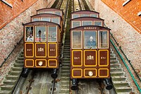 Funicular to Castle Hill District. Budapest Hungary, Southeast Europe.