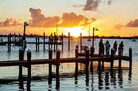 Florida, Upper Florida Keys, Key Largo, waterfront, piers, sunset, Buttonwood Sound, Florida Bay, water,