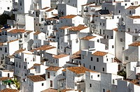 white houses of the village Casares, White Towns of Andalusia, Sierra Bermeja, Málaga province, Spain.