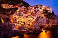 Evening light in Manarola, Cinque Terre, Liguria, Italy.