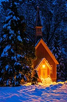 Yosemite chapel in winter, Yosemite National Park, California USA.