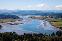 View from Astoria Column with the Youngs river, Astoria, Oregon, USA, America.