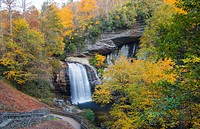 Brevard North Carolina Looking Glass Waterfall near Asheville with Fall Colors in Pisgah National Forest on Blue Ridge Parkway.