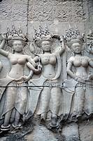 Carvings at Angkor Wat Temple in Siem Reap - Cambodia.