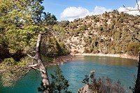 Pena Reservoir Panorama in Teruel, Spain.