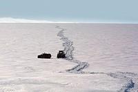 Jeeps driving on glacier, Myrdalsjokull Ice Cap, Iceland.
