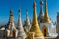 Stupas of the pagoda complex at Taungto village on the west bank of Inlay Lake in Myanmar.