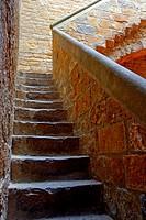 Staircase, Castle Bisbes Palace, La Bisbal de l´Emporda, Girona, Catalonia, Spain