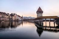 Lucerne, Reuss, Kapelll Bridge, Jesuit Church, Nadelwehr, Switzerland, Europe.