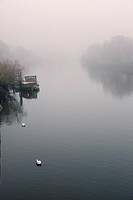 RIver Thames at Richmond on foggy winter day,Richmond Upon Thames,Greater London,England.