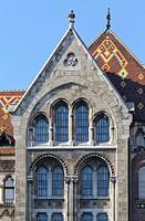 Budapest, Hungary, National Archives neoromanesque facade.