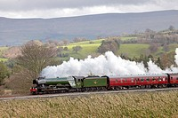 Steam train LNER A3 Class 4-6-2 no 60103 Flying Scotsman. Lazonby, Eden Valley, Cumbria, Settle to Carlisle Railway Line, England, United Kingdom, Eur...