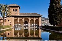 """The 'Damas' Tower (Tower of the Ladies"""""""") at the Partal Palace and Gardens of the Alhambra - Granada, Spain."""
