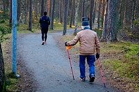 Two men, older and younger, exercising in a forrest in Ystad, Scania, Sweden.