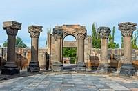 7th century Zvarnots ruins, Zwartnots temple or St Gregory Cathedral, Yerevan, Armavir Province, Armenia, Caucasus, Asia, Unesco World Heritage Site.
