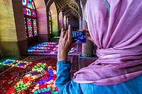 Interior of Pink Mosque (Nasir ol Molk Mosque) in Gowad-e-Araban district of Shiraz city, capital of Fars Province in Iran.