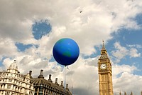 Globe shaped balloon over Westminster, London,England.