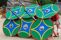 Roman soldiers with battle shields in defensive formation during the annual 'Tarraco Viva' festival held in Tarragona, Catalonia, Spain. The annual fe...