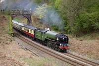 Steam train LNER Peppercorn Class A1 60163 Tornado. Cowran Cut, Cowran Cutting, Brampton, Newcastle & Carlisle Railway, N&CR, Cumbria, England, United...