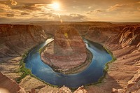 Horseshoe bend seen from the lookout point, Arizona, United States.