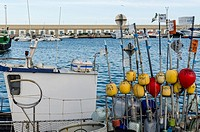 A buoys view in a boat, Carboneras port, Almería province, Spain.