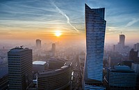 Sunset over Warsaw, Poland. View with Golden Terraces shopping mall and Zlota 44 skyscraper.