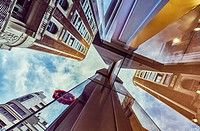 Architecture low angle view. Madrid. Spain.
