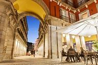 Ciudad Rodrigo street, one of the entrances to Plaza Mayor. Madrid, Spain.