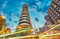 Low angle view of Carrion building at Callao square. Madrid. Spain.