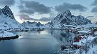 Village Reine on the island Moskenesoya. The Lofoten Islands in northern Norway during winter. Europe, Scandinavia, Norway,February.