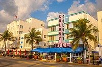 Colony and Boulevard Hotel, South Beach, Ocean Drive,Miami, Florida, USA.